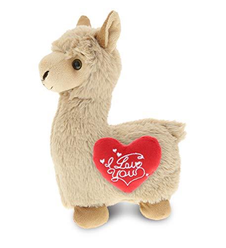 DolliBu Beige Llama I Love You Message Stuffed Animal 11 Inch for Boyfriend or Girlfriend Cute Teddy Bear with Heart Plush Toy for Friend Romantic Anniversary or Valentine Gift