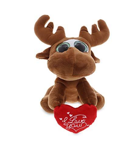 DolliBu Big Eye Moose I Love You Message Stuffed Animal 6 Inch for Boyfriend or Girlfriend Cute Teddy Bear with Heart Plush Toy for Friend Romantic Anniversary Valentine Gift
