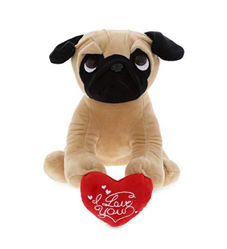 DolliBu Pug Dog I Love You Message Stuffed Animal 8 Inch for Boyfriend or Girlfriend Cute Teddy Bear with Heart Plush Toy for Friend Romantic Anniversary or Valentine Gift