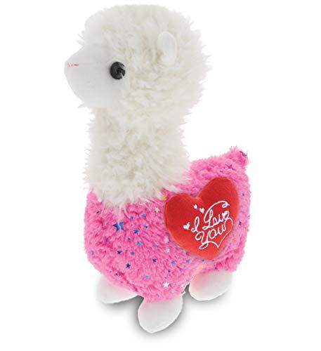 DolliBu Sparkle Pink Llama I Love You Message Stuffed Animal 115 Inch for Boyfriend or Girlfriend Cute Teddy Bear with Heart Plush Toy for Friend Anniversary or Valentine Gift