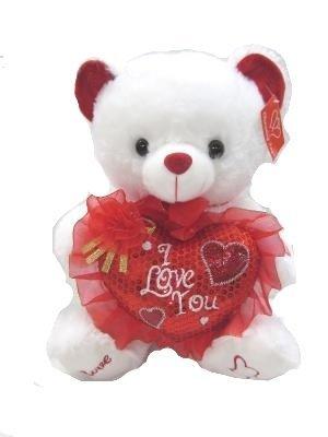 Musical Valentine Bear Plush White Teddy Bear with Heart I LOVE YOU