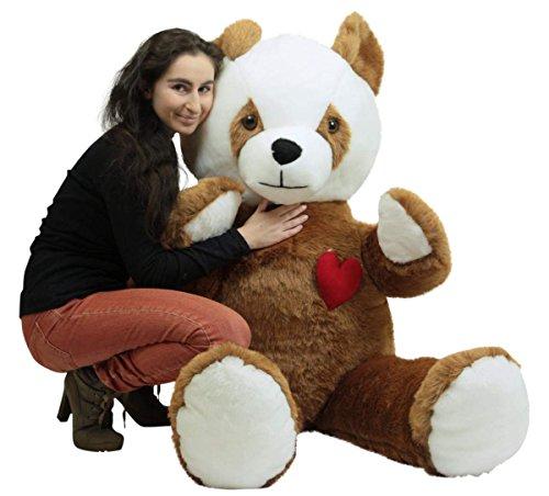 American Made Giant Stuffed Brown Panda 68 Inch Soft Teddy Bear Heart on Chest