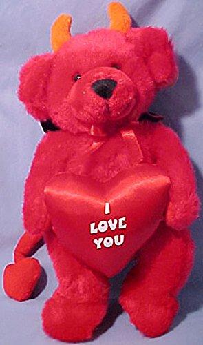 Russ Berrie Plush Dante Red Devil Teddy Bear with Heart