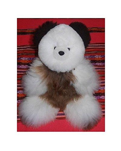 18 in Baby Alpaca Teddy Bear Beige White Black Ears Handmade by skilled craftsmen