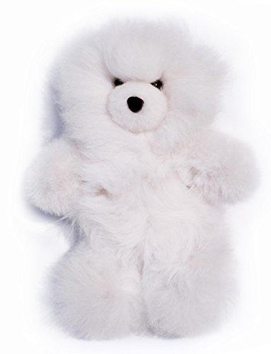 Baby Alpaca Fur Teddy Bear - Hand Made 10 Inch White