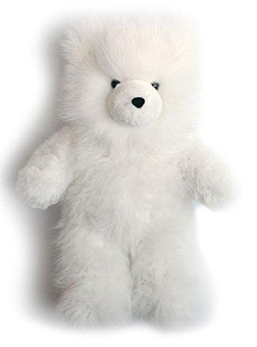 Baby Alpaca Fur Teddy Bear - Hand Made 16 Inch White