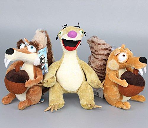 Ice Age 4 Scrat Squirrel Sid Sloth 7 - 9 Inch Toddler Stuffed Plush Kids Toys 3 Pcsset