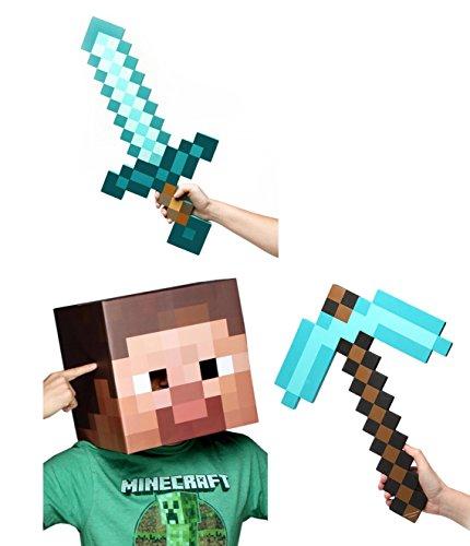 Minecraft Steve Head Diamond Sword Pickaxe Costume Set