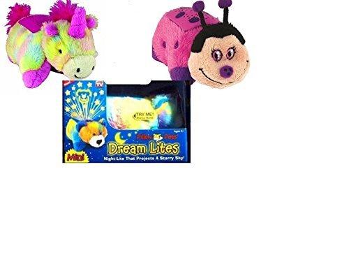 Pillow Pets Dream Lites Mini - Rainbow Unicorn Pillow Pets Dream Lites Mini - Hot Pink Ladybug by Pillow Pets