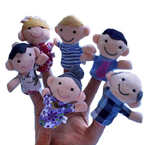 EKIMI 6Pcs Soft Family Member Puppet Baby Finger Plush Toys