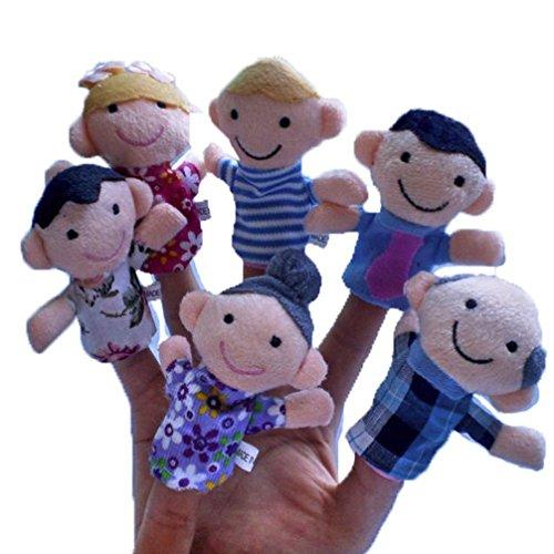 Lisingtool Toys6Pcs Soft Family Member Puppet Baby Finger Plush Toys