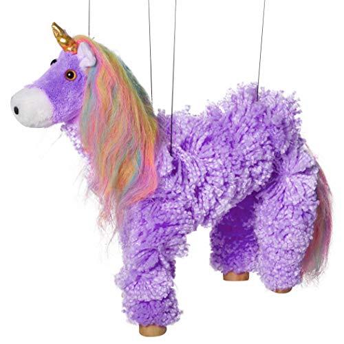 Artisan Owl Rainbow Mane Magical Unicorn Marionette Yarn Puppet Purple