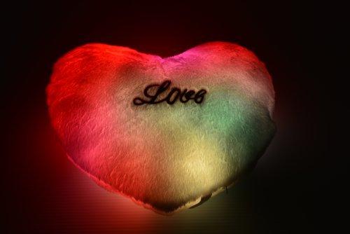 LED Light up Glow Heart Pillow - Cashmere Cotton Blend - Safe LED Lights - Auto Color Rotation - Shaped Illuminated Pillow Cushion Plush Toy