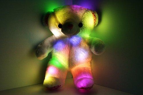 LED Light up Glow Teddy Bear Pillow Pet - Cashmere Cotton Blend - Safe LED Lights - Auto Color Rotation - Shaped Illuminated Cushion - Plush Toy
