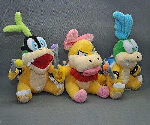 Super Mario Bros 6 Inch Anime Animal Stuffed Plush Toys Wendy O Koopa Larry Koopa Iggy Koopa 3 Pcsset by Homedecoration