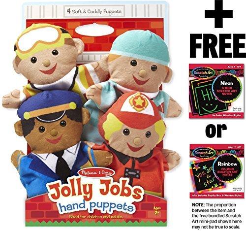 Melissa Doug Jolly Helpers 4-Piece Hand Puppets Gift Set  Free Scratch Art Mini-Pad Bundle 90865
