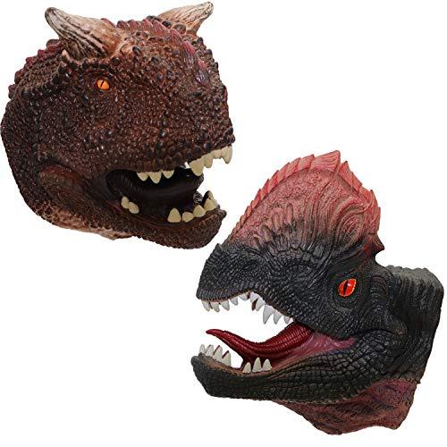 ifkoo Dinosaur Hand Puppet Soft Realistic Rubber Dilophosaurus Tatankacephalus Hand Puppet Role Party Play Toy Kids Dinsaur Set