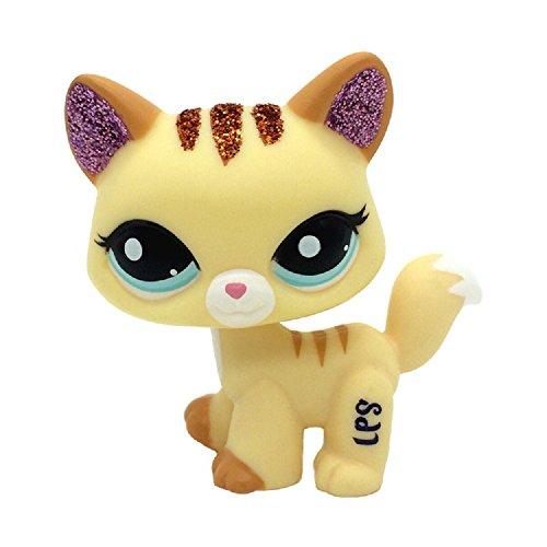 2255 Rare Littlest Pet Shop Yellow Sparkle Glitter Cat Kitty Toy LPS