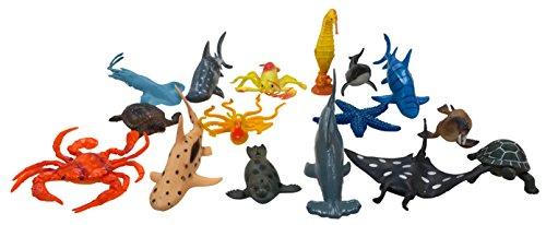 Large Sea Animals Ocean World Sea Creatures Plastic Toy Figures 15 Piece Set