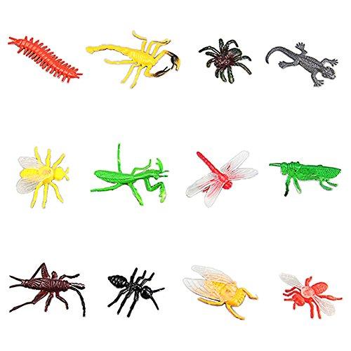 Lanlan 12 Pcs Cute Simulation Mini Assorted Insect Toys PVC Plastic Animal Figures Kids Educational Toy
