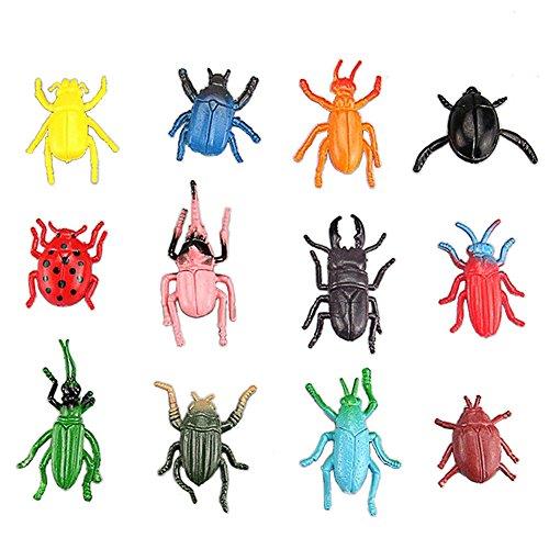 Lanlan 12PCS Mini Realistic PVC Plastic Animal Figures Toys Playsets Learning Education Toys Kid Gift Beetle Toys