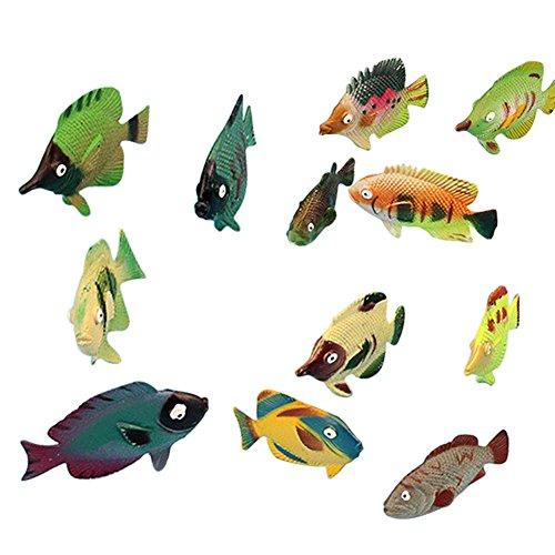 Lanlan 12PCS Mini Realistic PVC Plastic Animal Figures Toys Playsets Learning Education Toys Kid Gift Fish Toys