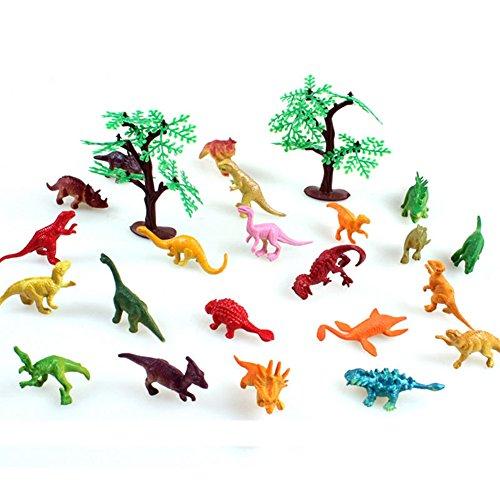 Lanlan 22 PCS Mini Realistic PVC Plastic Animal Figures Playsets with 2 Trees Learning Education Toys Kid Gift Dinosaur