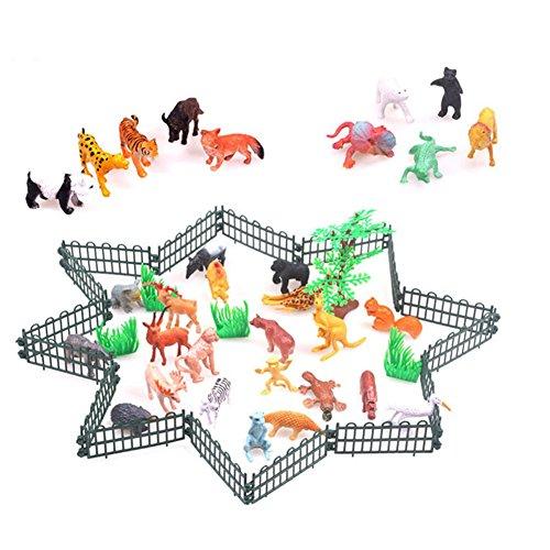 Lanlan 32PCS Mini Realistic PVC Plastic Animal Figures Playsets Learning Education Toys Animal World Kid Gift