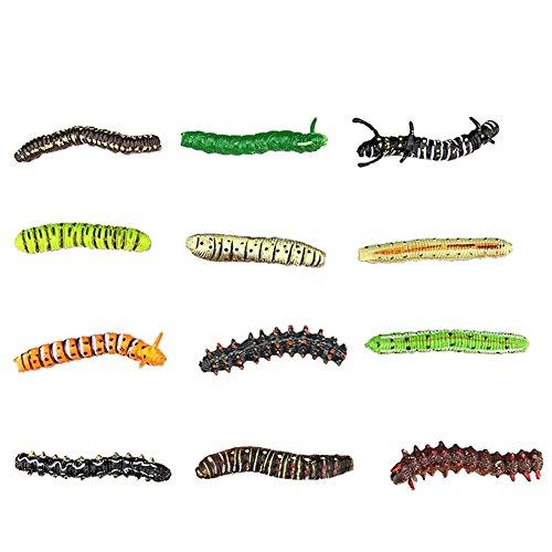 Lanlan Mini Assorted Caterpillar Toys PVC Plastic Animal Figures Kids Educational Toy 12 Pcs