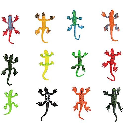 Lanlan Mini Assorted Lizard Toys PVC Plastic Animal Figures Kids Educational Toy 12 Piece