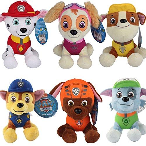 TalentPZ eco-friendly Halloween Christmas Birthday Gift Children Kids 6 Pcs of PAW Patrol Stuffed Puppet Dolls Plush Toys Set6 Height20cm  788£