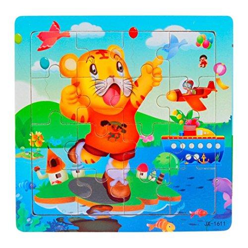 Jigsaw Puzzles Set RIUDA Animal World Wooden Kids 16 Piece Jigsaw Toys Education