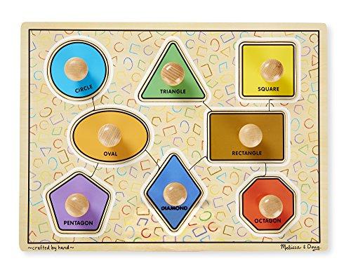 Melissa Doug Large Shapes Jumbo Knob Wooden Puzzle 8 pcs