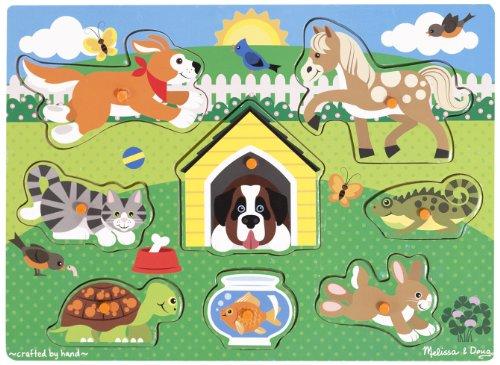Melissa Doug Pets Wooden Peg Puzzle 8 pcs