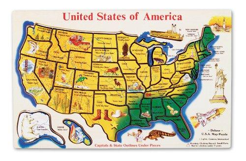 Melissa Doug USA Map Wooden Puzzle 45 pcs