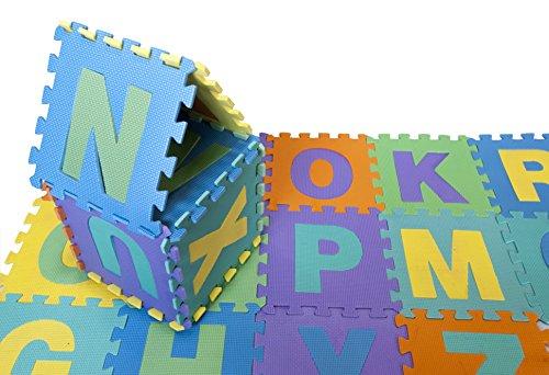 Educational Children Play MatJigsaw Puzzle MatNon-Toxic Foam Floor Puzzle Tiles with ABCs Interlocking Floor Tiles Best for Hard Floors Play Area Day Care School 12 X 12