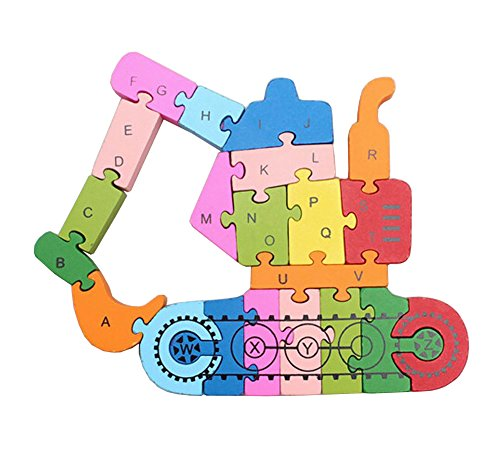 Funny Digital Letter Wooden Blocks Puzzles Educational Puzzle Excavator