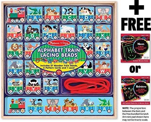 ABC Lacing Train Play Set  FREE Melissa Doug Scratch Art Mini-Pad Bundle 94979