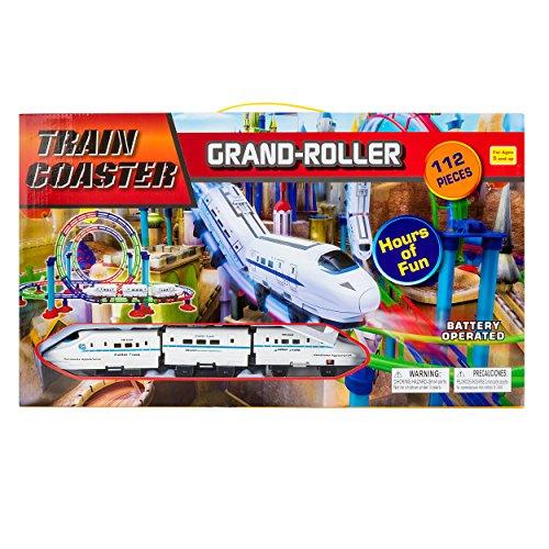 High Speed Magic Bullet Train Grand Roller Coaster 3-Car 112pcs Train Play Set Battery Operated