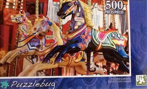 Fantastic Puzzlebug 500 Piece Jigsaw Puzzle - Fun Fair Carousel Bright Bold Colorful