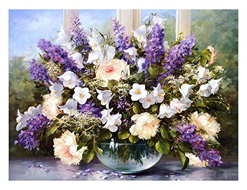 VICTORY-JigsawWooden Beautiful Flowers Jigsaw Puzzles - Fun Game With Friends Family - in a Box - 1000 Pieces Lavender