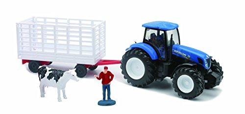 5 New Holland Plastic Tractor and wagon by New Ray
