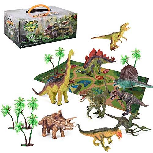 Dinosaur Toys Set Realistic Dinosaur Figures Activity Play Mat And Tree Educational Toys Kids Toddler Boys Girls Indoor Outdoor Play Set