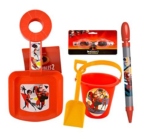 Disney Pixar Incredibles 2 Sand Water Outdoor Play Set- Swim Goggles Water Blaster Squirter Sand Bucket Shovel