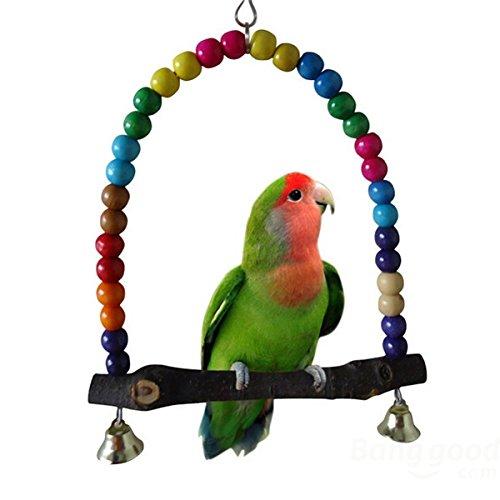 Pink Lizard Wooden Bird Parrot Swing Toys Parakeet Cockatiel Lovebird Budgie Cage Hanging