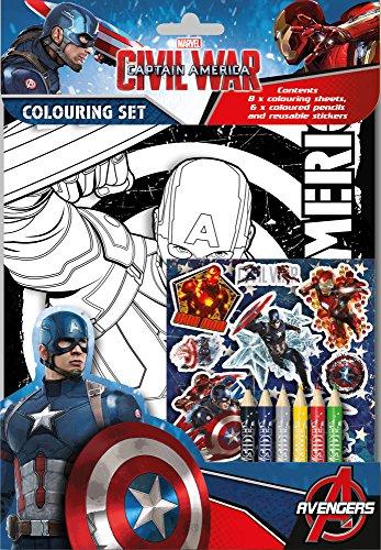 Captain America Civil War Colouring Set Kids Activity Stickers Party Bag