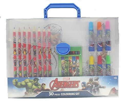 Marvel Avengers 30 Pieces Colouring Set Includes Pencils Crayons Pens Age 3