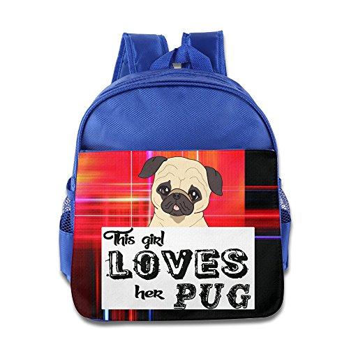 This Girl Loves Her Pug Kids School RoyalBlue Backpack Bag
