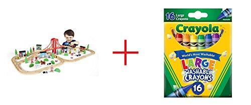 Imaginarium 80 Piece Mega Train World and Crayola 16-Count Large Washable Crayons - Bundle