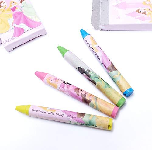 Momokas Apron Disney Princess 4ct-Crayons for Party Favors Kids Craft Activities - 12 Boxes Total 48 Crayons